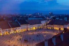Sibiu all'ora blu Fotografia Stock
