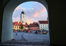 Sibiu in archway royalty free stock images