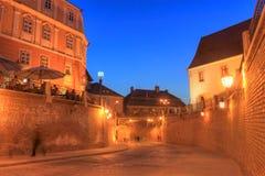 Sibiu bij het blauwe uur, Roemenië Stock Foto