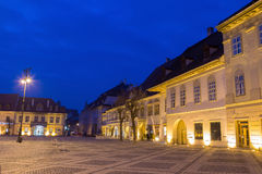 Sibiu at blue hour Royalty Free Stock Images