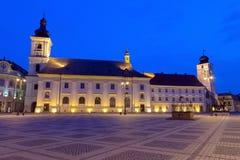 Sibiu at blue hour Royalty Free Stock Photos