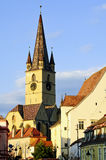Sibiu, capital of culture 2007. Protestant church in center of Sibiu (Hermannstadt) at sunset Royalty Free Stock Photo