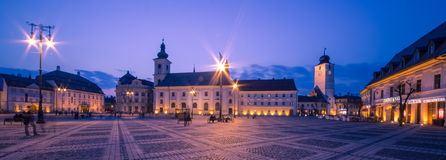 Sibiu Center by night. Image showing the Great Square in Sibiu, Romania Stock Image
