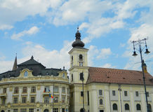 Sibiu centrum miasta i urząd miasta Obraz Stock