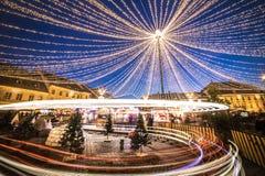 Sibiu Christmas Market, Romania, Transylvania - December 2015 stock photos