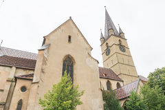Sibiu. Church from historic center in sibiu , Evangelical Lutheran Cathedral, different view 2 Stock Image