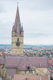 Sibiu. Church from historic center in sibiu , Evanghelical Lutheran Cathedral Stock Photo