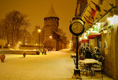 Sibiu Citadel's street Romania by night Royalty Free Stock Photo