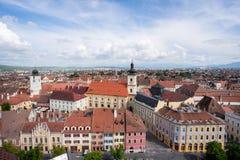 Sibiu city aerial view Transylvania, Romania royalty free stock image