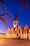 Sibiu City Center. Gothic Church in Sibiu`s old city center Royalty Free Stock Photo