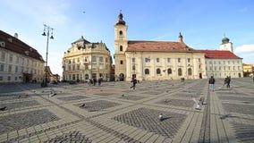 Sibiu city center stock video