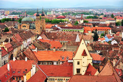 Sibiu city centre, roofs and cathedral, Romania. Top view of Sibiu city centre, roofs and cathedral, Romania Royalty Free Stock Photo