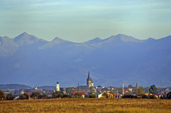Sibiu city and Fagaras mountain in background Stock Images