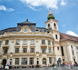 Sibiu city hall and the Roman-Catholic Church  Romania Royalty Free Stock Image