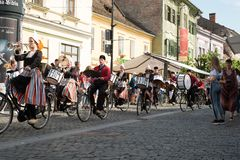 Crescendo Opende Bicycle Band from Netherlands performing at the Sibiu International Theatre Festival from Sibiu, Romania royalty free stock image