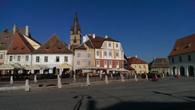 Sibiu city in Romania. Street scene in Sibiu city, Transylvania, Romania Stock Image