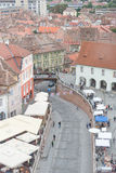 Sibiu city view. Aerial overview of Sibiu with the  bridge of Lies Royalty Free Stock Photo