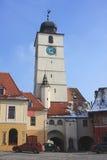 Sibiu Clock Tower. Clock tower in Sibiu, Romania Stock Images