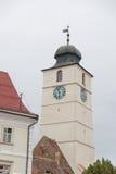 Sibiu. Council Tower from Sibiu bottom view Stock Photos