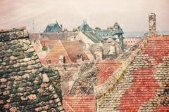 Sibiu dakenschouwspel als uitstekende prentbriefkaar Royalty-vrije Stock Fotografie