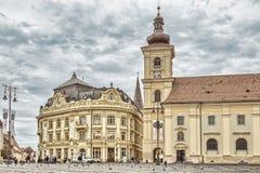 Sibiu - den storslagna fyrkanten Arkivfoton