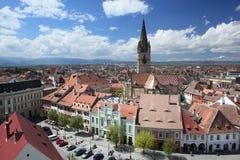 Sibiu die van de Toren van de Raad wordt gezien Stock Foto's