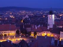 Sibiu en la puesta del sol Fotos de archivo libres de regalías