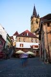 Sibiu entro la notte - Romania Fotografia Stock