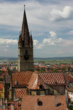 Sibiu - Evangelist Cathedral top view. Top view of the Evangelist Cathedral in Sibiu city, Romania Stock Photography