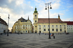 Sibiu Hermannstadt plaza Royalty Free Stock Images