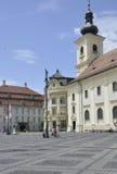 Sibiu,June 16:Catholic Church in Main Square from Sibiu Romania royalty free stock image