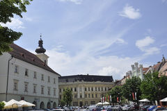 Sibiu,June 16:City Hall Square from Downtown of Sibiu in Romania stock image