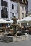 Sibiu,June 16:Fountain from Main Square of Sibiu in Romania stock photos