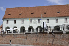 Sibiu,June 16:Historic building from Small Square of Sibiu in Romania stock photo