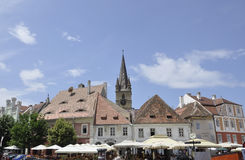 Sibiu,June 16:Historic buildings from Small Square of Sibiu in Romania Stock Photos