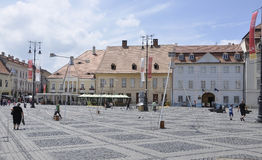 Sibiu,June 16:Main Square View from Sibiu in Romania Royalty Free Stock Photography