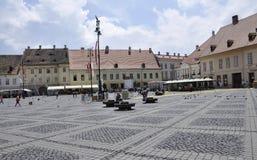 Sibiu,June 16:Main Square View from Sibiu in Romania stock image