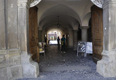 Sibiu,June 16:Passage way of Council Tower from Small Square of Sibiu in Romania Stock Image