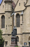 Sibiu,June 16:Statue front of Evangelical Church from Downtown of Sibiu in Romania Royalty Free Stock Images