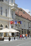 Sibiu,June 16:Terrace from Main Square of Sibiu in Romania stock photography
