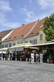 Sibiu, June 16:Terrace from Main Square of Sibiu in Romania stock photo