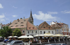 Sibiu,June 16:Terrace from Small Square of Sibiu in Romania Stock Photography