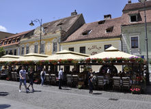 Sibiu,June 16:Terrace from Small Square of Sibiu in Romania Stock Photos