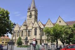 Sibiu Juni 16: Evangelikal kyrka från centrum av Sibiu i Rumänien Arkivfoton