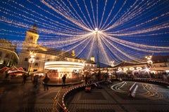 Sibiu Kerstmismarkt, Roemenië, Transsylvanië Royalty-vrije Stock Fotografie