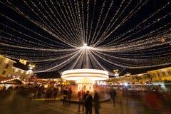 Sibiu Kerstmismarkt, Roemenië, Transsylvanië Royalty-vrije Stock Afbeelding