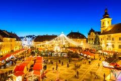 Sibiu Kerstmismarkt, Roemenië Stock Foto's