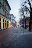 Sibiu medieval city alley at sunset Royalty Free Stock Photos