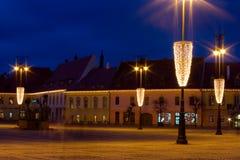 Sibiu medioevale durante il Christma Fotografie Stock Libere da Diritti