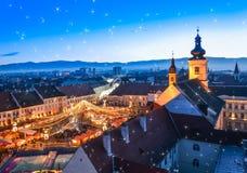 Sibiu, mercado de la Navidad, Rumania Fotografía de archivo